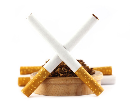 No smoking theme with cigarette and tobacco photo