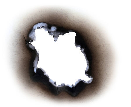 paper hole: Burn paper over white background