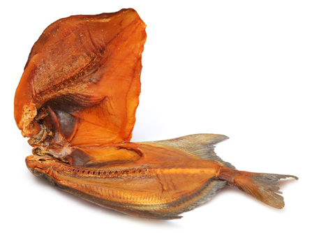 Dried fish Rup chanda over white background photo