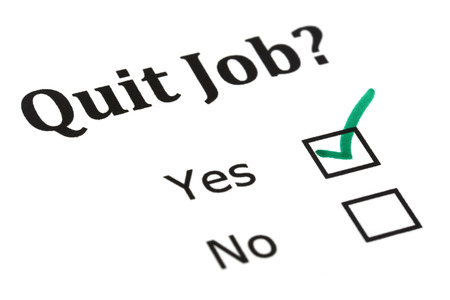 Quit job check mark on white paper
