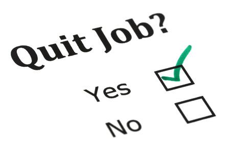Quit job check mark on white paper