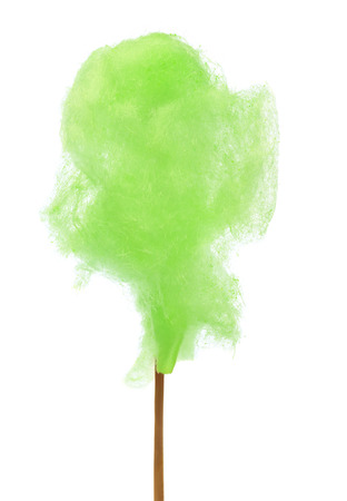 Green cotton candy over white background photo