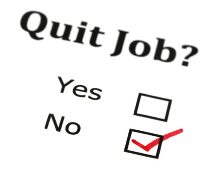Quit job check mark on white paper photo
