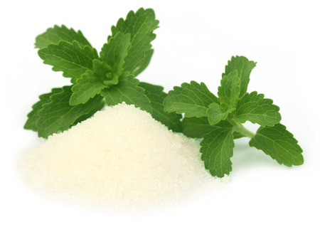 steviol: Stevia with sugar over white background Stock Photo