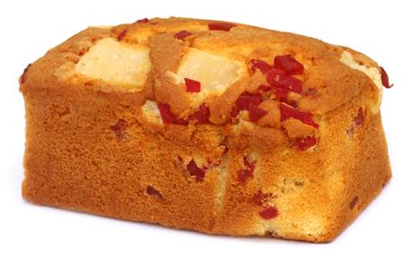 fruitcake: Large Fruitcake over white background Stock Photo