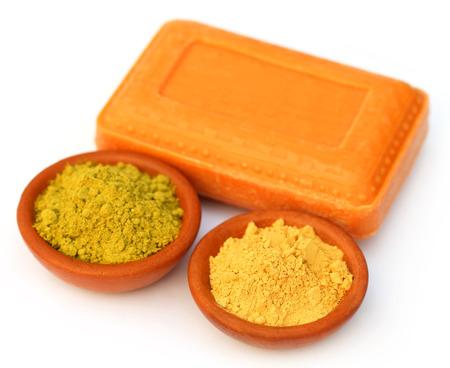 sandalwood: Henna and sandalwood powder with soap over white background Stock Photo