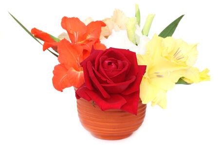 Flower bouquet on a bown vase photo