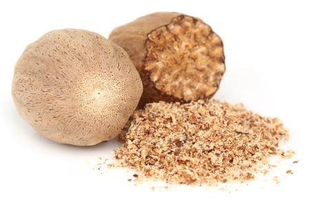 nutmeg: Nutmeg or Jaifal Spice over white background