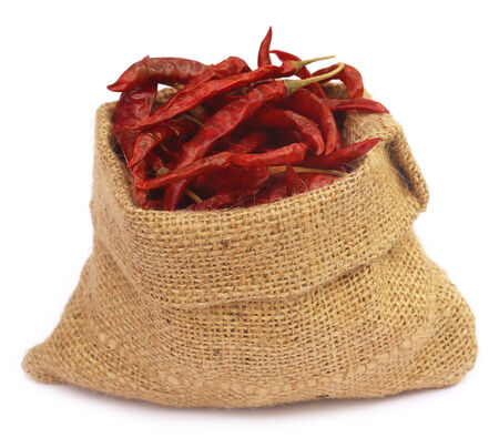 Red hot chilies with a sack over white background photo