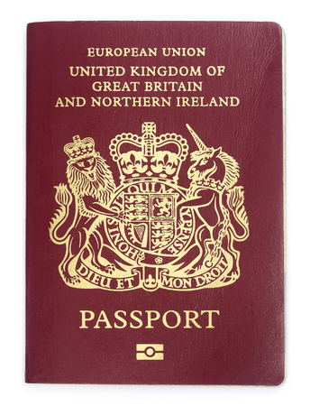 British passport over white background
