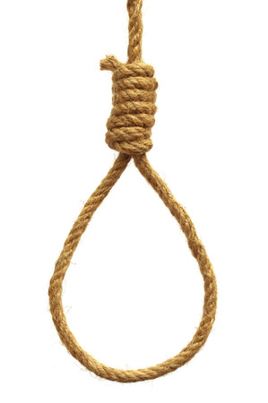 Hanging noose over white background