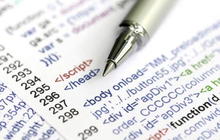 Source code of a website with pen Standard-Bild