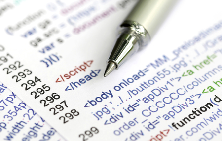 Source code of a website with pen Stock Photo