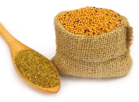 Mustard in sack bag with grated seeds on wooden spoon photo