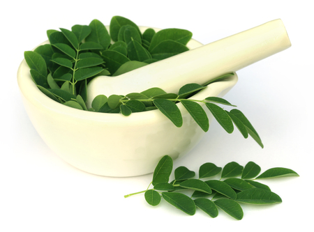 Moringa leaves with mortar and pestle over white background Archivio Fotografico