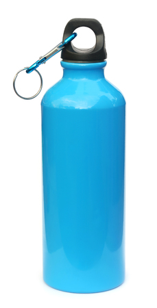blue water: Blue water bottle over white background