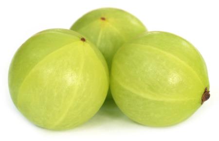 Amla fruits over white background