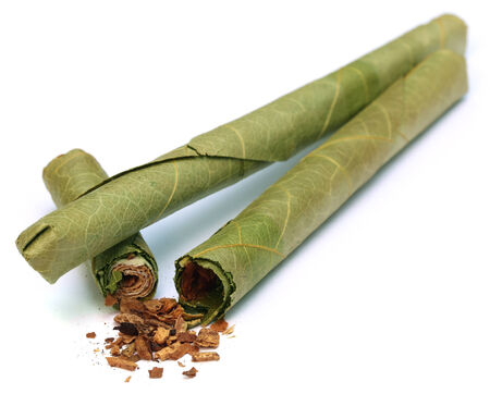 cheroot: Cigar locally named as Cheroot in Myanmar over white background Stock Photo