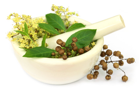 Henna leaves with flower and seeds in a mortar