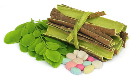 benzolive: Moringa leaves and bark with pills over white background