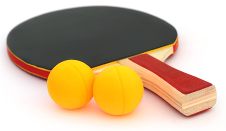 tabletennis: Table tennis ball with bat over white background Stock Photo