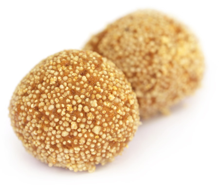 subcontinent: Laddu of Indian Subcontinent over white background