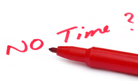 no time: No Time written in wihite paper with red pen Stock Photo