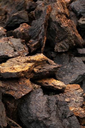 turba: Cierre de algunos bloques en el campo de turba Foto de archivo