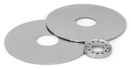 hard disk drive: Open hard disk drive over white background