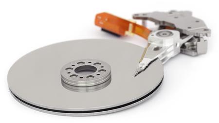 hard disk: Open hard disk drive over white background