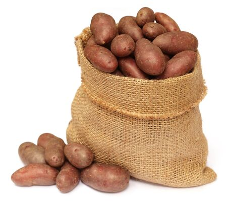 Some red potatoes in a sack bag over white background photo