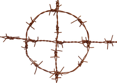 Rusty barbed wire over white background photo