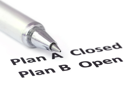 plan b: Emphasis on Plan B with a silver ballpoint Stock Photo