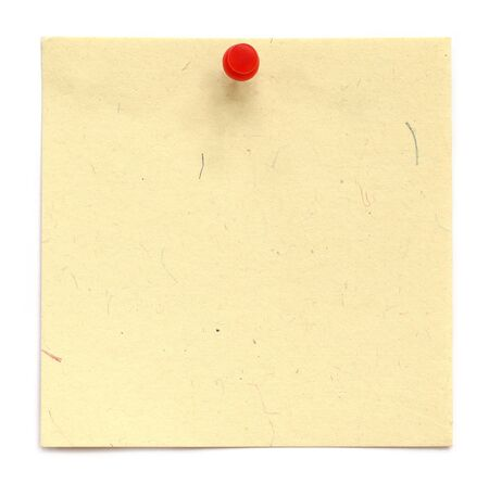 white pushpin: Blank notice with pushpin over white background