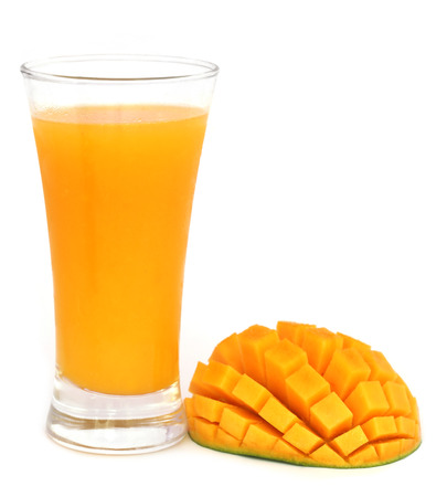Mango juice with fruit over white background
