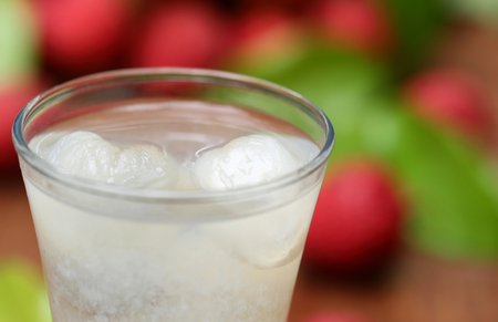 lychee juice: Close up of lychee juice with with fresh fruits Stock Photo