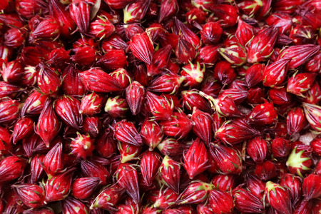 Background made of hibiscus sabdariffa or roselle fruits