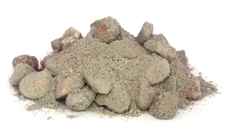 cement pile: Building materials for making concrete over white background Stock Photo