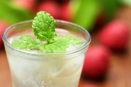 lichi: Close up of lychee juice with fruits