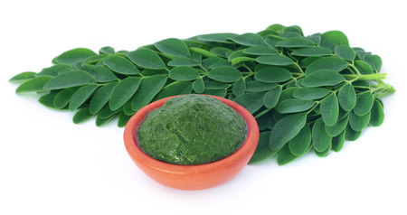 sajna: Edible moringa leaves with ground paste over white background Stock Photo