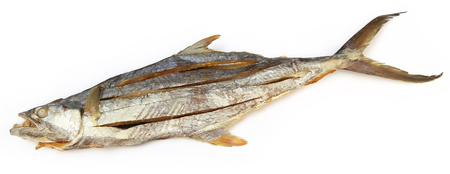 edible fish: Dried salmon fish over white background