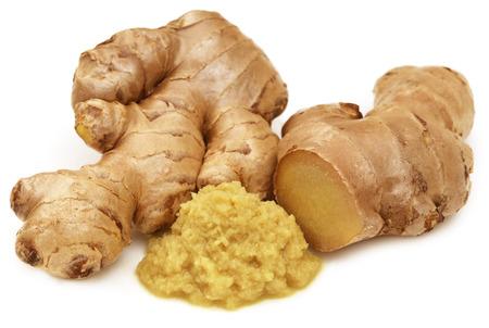 Fresh ginger over white background