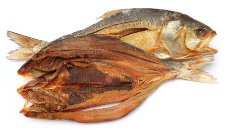 festival scales: Popular Ilish fish dried of Southeast Asia over white background Stock Photo