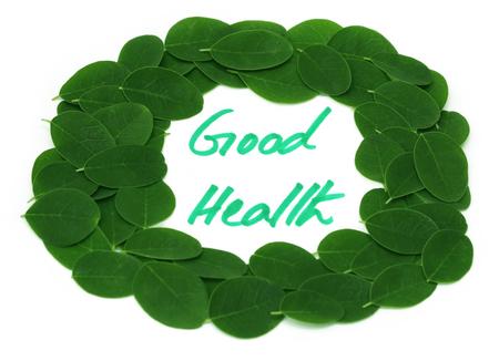 buena salud: La buena salud escrito en hojas de Moringa marco sobre fondo blanco