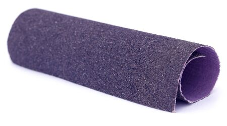 emery paper: Sand paper roll over white background Stock Photo