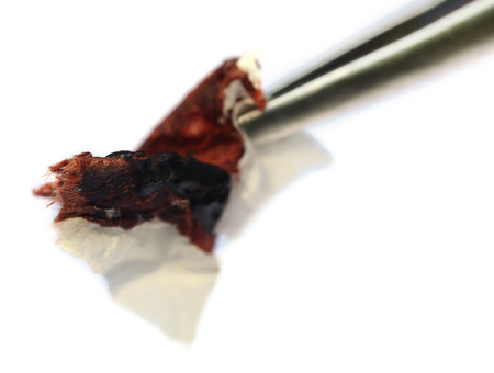 criminology: Blood in tissue paper as forensic analysis Stock Photo