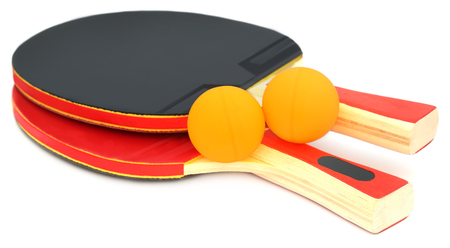 table tennis: Table tennis bats and ball over white background