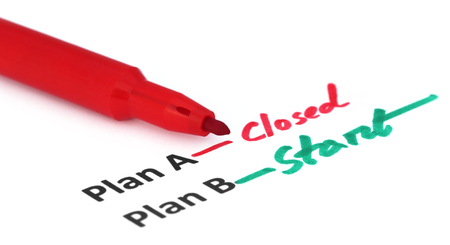 emphasis: Plan A and B written by red pen over white background