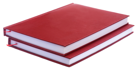 thesis: Maroon colored thesis papers over white background Stock Photo