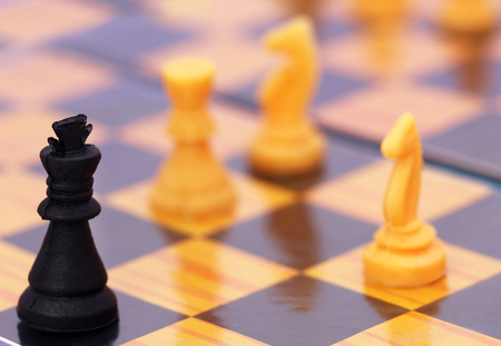 chessboard: Close up of a playing chessboard